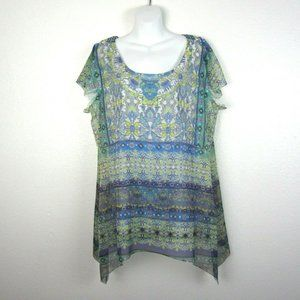Live & Let Live 1X Tank with Sheer Overlay NWOT